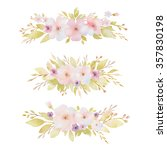 watercolor set of bouquets of... | Shutterstock . vector #357830198