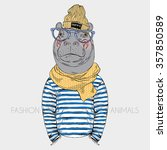 hippo hipster dressed up in... | Shutterstock .eps vector #357850589