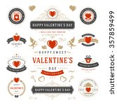 valentine's day labels and... | Shutterstock .eps vector #357859499