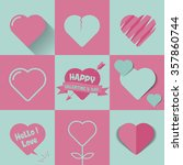 happy valentines day cards with ... | Shutterstock .eps vector #357860744