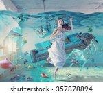 an underwater view in the...   Shutterstock . vector #357878894