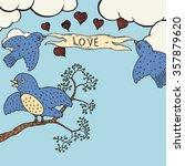 birds of love. hand drawn... | Shutterstock .eps vector #357879620