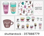 big coffee shop set. quote... | Shutterstock .eps vector #357888779