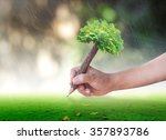 Teacher day concept: Student hand holding pencil of tree and writing on green meadow over blurred forest background