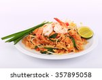 fried noodle thai style with... | Shutterstock . vector #357895058