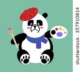 Panda Bear Artist With Brush...