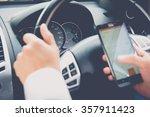Hand Using Phone Sending A Text ...
