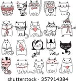 Stock vector set of vector doodle cute cats avatars 357914384