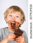 young messy boy eating a... | Shutterstock . vector #357919520