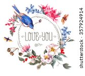 spring vintage round frame with ... | Shutterstock .eps vector #357924914