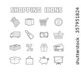 shopping icons set. thin line... | Shutterstock .eps vector #357951824