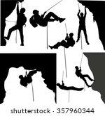 rock climbers silhouette... | Shutterstock .eps vector #357960344