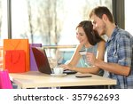 couple buying online with... | Shutterstock . vector #357962693