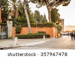 Small photo of road to Saint Anselmo Church in Rome and bell tower
