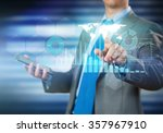 man working with virtual panel | Shutterstock . vector #357967910