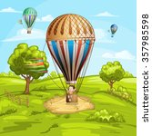 summer landscape with hot air... | Shutterstock . vector #357985598