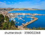 aerial view of harbour at... | Shutterstock . vector #358002368