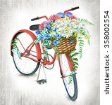 Watercolor Red Bicycle With...