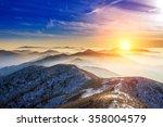 winter landscape with sunset... | Shutterstock . vector #358004579