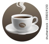 cup of coffee on brown... | Shutterstock .eps vector #358019150