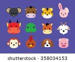 flat animal faces icon cartoon  ... | Shutterstock .eps vector #358034153