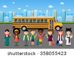 multinational kids going to... | Shutterstock .eps vector #358055423