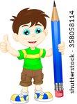cartoon boy with pencil   Shutterstock .eps vector #358058114