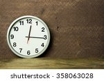 white alarm clock on wooden...