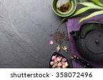 asian sushi chopsticks  rose... | Shutterstock . vector #358072496