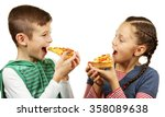 children eating pizza isolated...   Shutterstock . vector #358089638