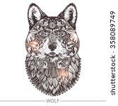 ornamental tattoo wolf head....   Shutterstock .eps vector #358089749