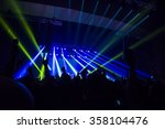 silhouettes of concert crowd  | Shutterstock . vector #358104476