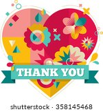 thank you  card with heart ... | Shutterstock .eps vector #358145468