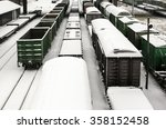 Cargo Trains In Winter