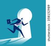 keyhole. businessman entering... | Shutterstock .eps vector #358152989