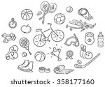 set of cartoon sport things ... | Shutterstock .eps vector #358177160