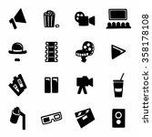 vector cinema icon set on white ... | Shutterstock .eps vector #358178108