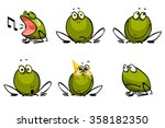 six funny cheerful frogs | Shutterstock .eps vector #358182350