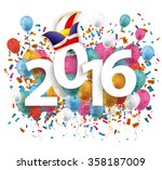 2016 with colored confetti and... | Shutterstock .eps vector #358187009