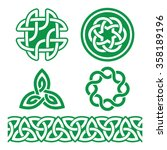 celtic irish green patterns and ... | Shutterstock .eps vector #358189196