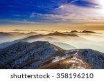 winter landscape with sunset... | Shutterstock . vector #358196210