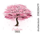 realistic pink blossoming...   Shutterstock .eps vector #358200479