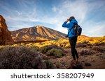 Female Traveler In Teide Park