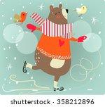 winter cartoon bear | Shutterstock .eps vector #358212896