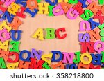 plastic colored alphabet... | Shutterstock . vector #358218800