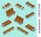 outdoor park bench. wooden...   Shutterstock .eps vector #358221968