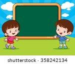 vector of cute boy and girl...   Shutterstock .eps vector #358242134