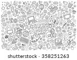 vector line art doodle cartoon... | Shutterstock .eps vector #358251263