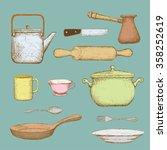 Set Of Kitchen Utensils. Doodl...