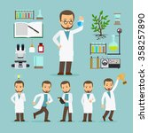 scientist with laboratory... | Shutterstock .eps vector #358257890